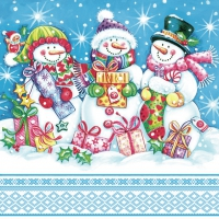 Servietten 33x33 cm - Snowmen with Presents