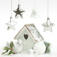 Servietten 33x33 cm - White Xmas Decor with Bird House