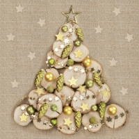 Servietten 33x33 cm - Wood Slice Xmas Tree