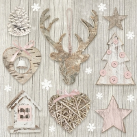 Servietten 33x33 cm - Xmas Decoration with Pink