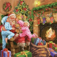 Servietten 33x33 cm - Children Kissing Santa Claus