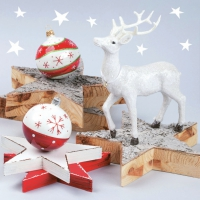 Servietten 33x33 cm - White Reindeer with Wooden Stars