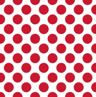 Servietten 33x33 cm - Polka Dots Red