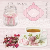 Servietten 33x33 cm - Pink Tea Background