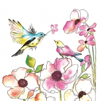 Servietten 33x33 cm - Watercolour Birds & Flowers
