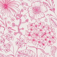 Servietten 33x33 cm - Botanical Flowers Pink
