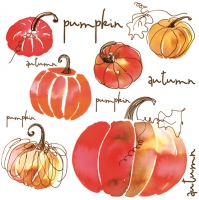Servietten 33x33 cm - Watercolour Pumpkins