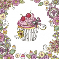 Servietten 33x33 cm - Sweet Graphic Cupcake in Flower Frame
