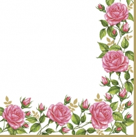 Servietten 33x33 cm - Flower Frame with Garden Roses