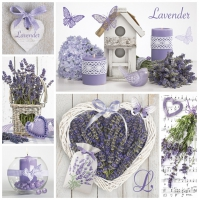Servietten 33x33 cm - Lavendel-Collage