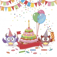 Servietten 33x33 cm - Funny Owls with B-day Cake