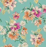 Napkins 33x33 cm - Flower Meadow Pattern – Turquoise