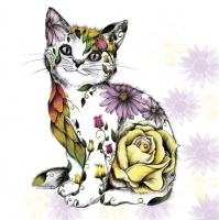 Servietten 33x33 cm - Floral Smilling Kitty