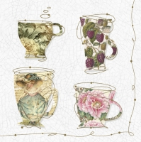 Servietten 33x33 cm - Tea Cups with a Teapot