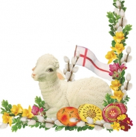 Servietten 33x33 cm - Lamb & Easter Palm - White