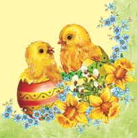 Servietten 33x33 cm - Two Easter Chickens - Green