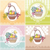 Servietten 33x33 cm - Four Easter Baskets