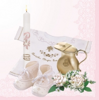 Servietten 33x33 cm - Christening  Composition Pink