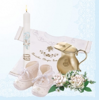 Servietten 33x33 cm - Christening Composition Blue