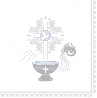 Servietten 33x33 cm - Christening Motive Silver and Blue