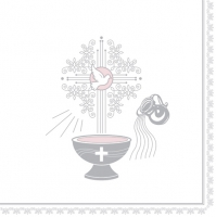 Servietten 33x33 cm - Christening Motive Silver and Pink