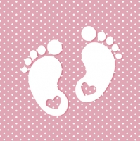 Servietten 33x33 cm - Little Feet Pink