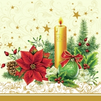 Lunch Servietten xmas candle cream