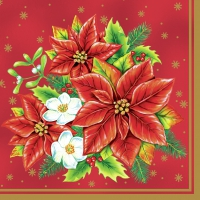 Servietten 33x33 cm - Poinsettia Bouquet Red