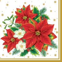 Servietten 33x33 cm - Poinsettia Bouquet White