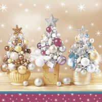 Servietten 33x33 cm - Bauble Christmas Trees