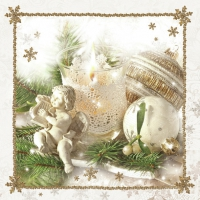Servietten 33x33 cm - Christmas White Decoration