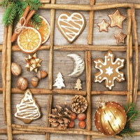 Servietten 33x33 cm - Elements in Christmas Collage