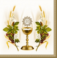 Servietten 33x33 cm - Chalice with Grapes and Wheat Beige