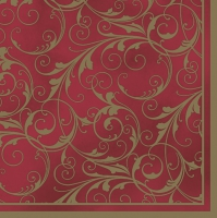 Servietten 33x33 cm - Red & Gold