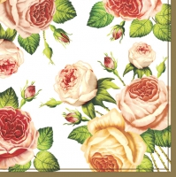 Servietten 33x33 cm - Tea Roses White