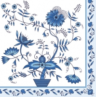 Lunch Servietten white/blue pattern