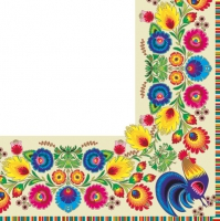 Lunch Servietten pattern border cream/white