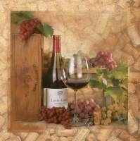 Servietten 33x33 cm - Wine and Corks