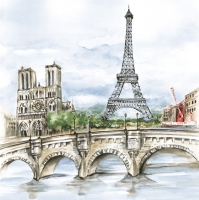 Lunch Servietten Paris in Watercolour