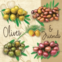 Servietten 33x33 cm - Variety of Olives