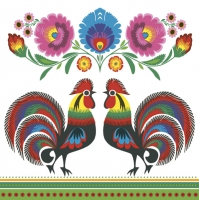 Servietten 33x33 cm - Two Folk Roosters