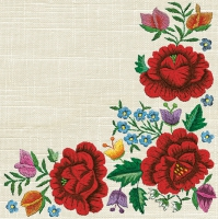 Servietten 33x33 cm - Poppy Embroidery Border