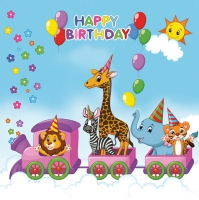 Servietten 33x33 cm - Happy Birthday Train