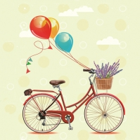 Lunch Servietten Bicycle with Balloons