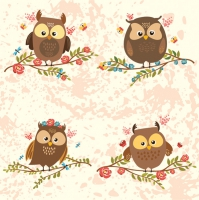 Servietten 33x33 cm - Brown Owls on Twigs