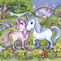 Servietten 33x33 cm - Lovely Unicorns in Garden