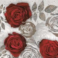 Servietten 33x33 cm - Red Roses with Floral Prints