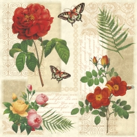 Servietten 33x33 cm - Flowers and Butterflies on Vintage Background