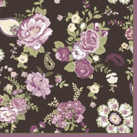 Servietten 33x33 cm - Wallpaper with Roses Claret