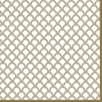 Servietten 33x33 cm - Gold Arches with Dots White